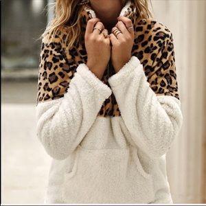 Leopard and White Fleece Half Zip Jacket